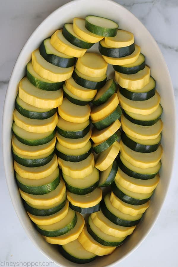 Zucchini in a casserole dish.