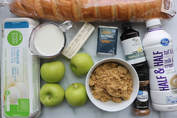 Ingredients to make Apple Overnight French Toast casserole.