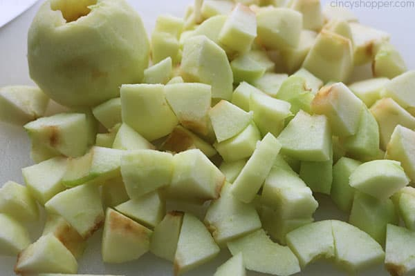diced apples for french toast bake.
