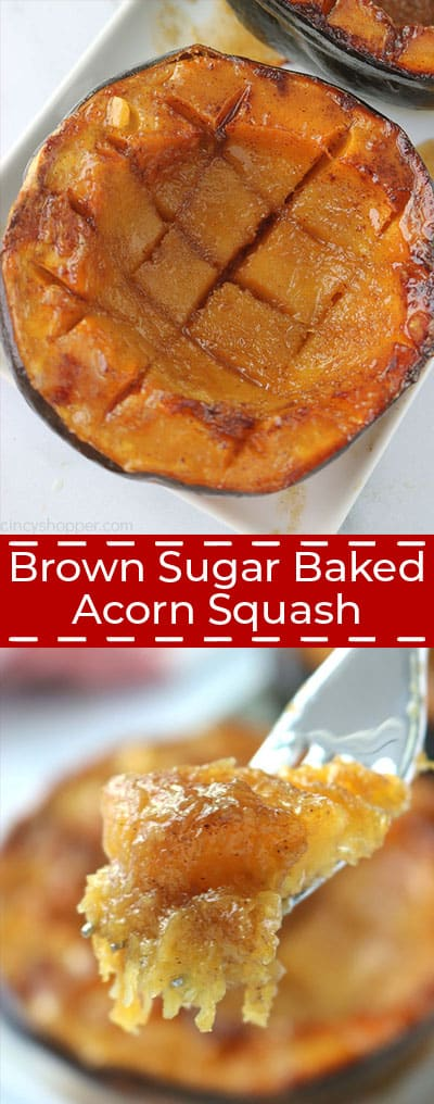 Long collage of Brown Sugar Baked Acorn Squash.