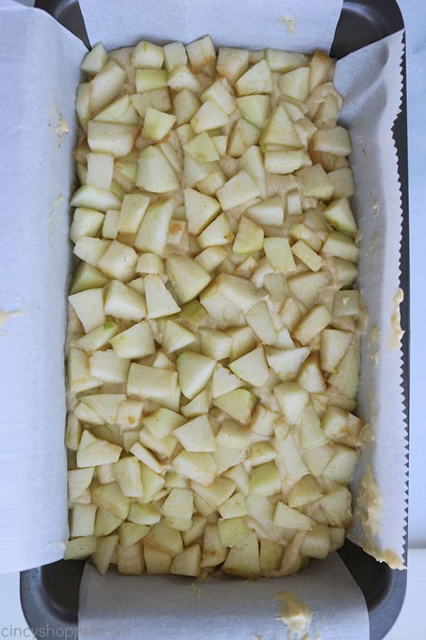 Apple topped quick bread.