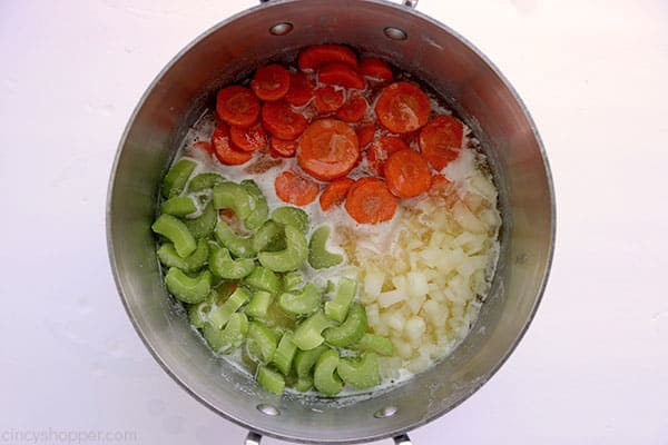 Vegetables in a pan for Creamy Chicken Rice Soup