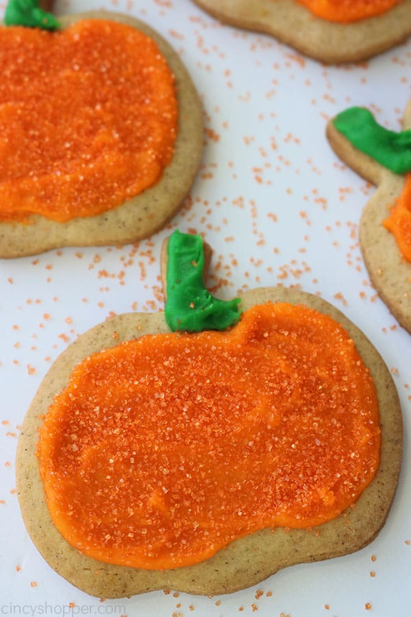 Decorated Cut Out Pumpkin Cookies