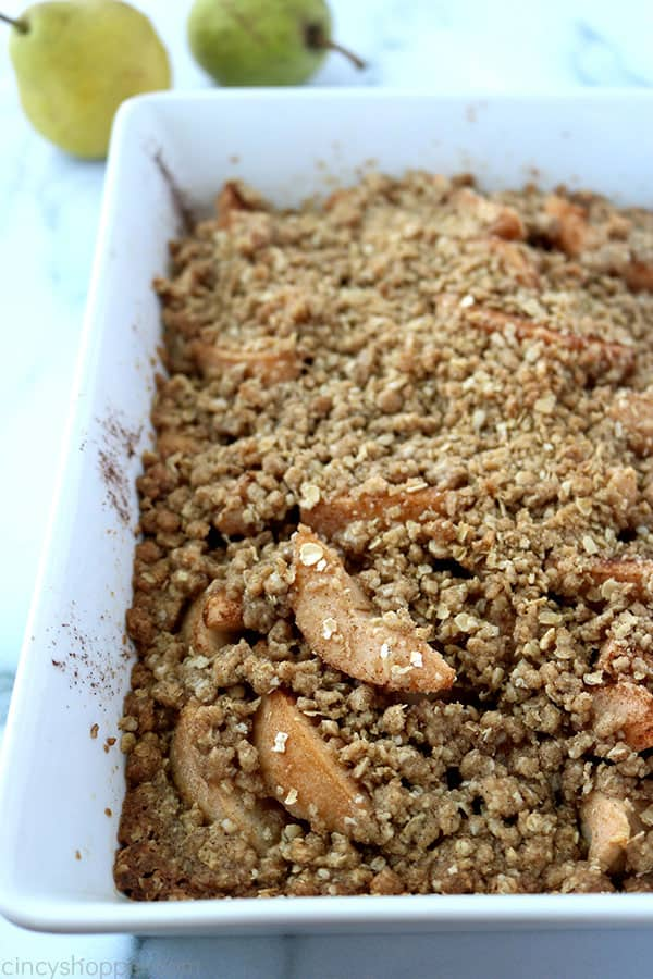 Baked Pear Crisp in a white baking dish.