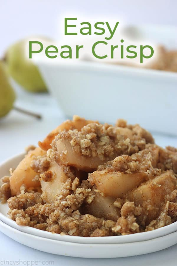 Easy Pear Crisp with crispy topping on a plate.