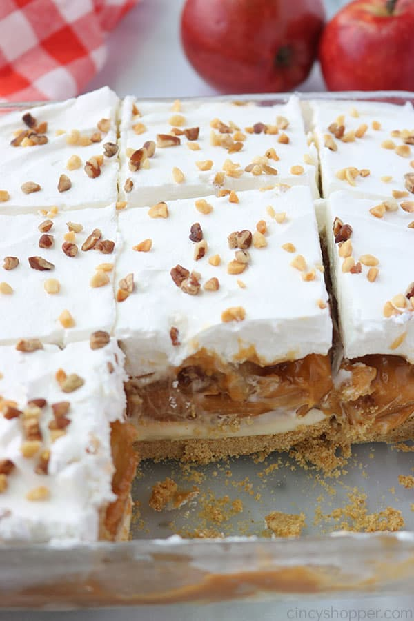 Layered Caramel Apple dessert bars in a baking dish.