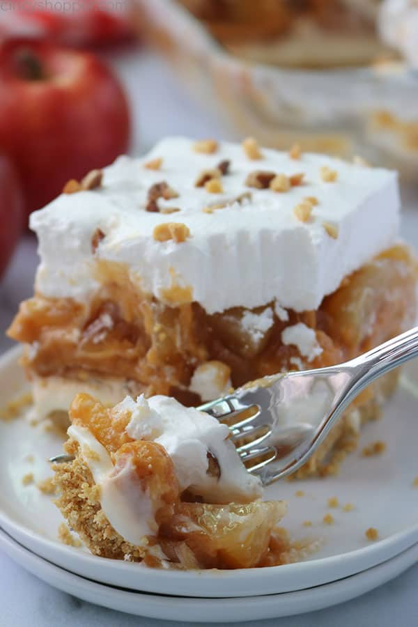 Caramel Apple Lush Bars with a fork.