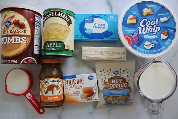 Ingredients to make Caramel Apple Lush Bars