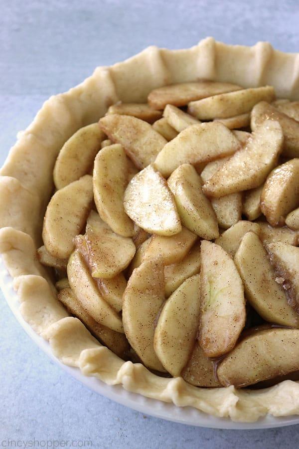Apple pie filling in crust.