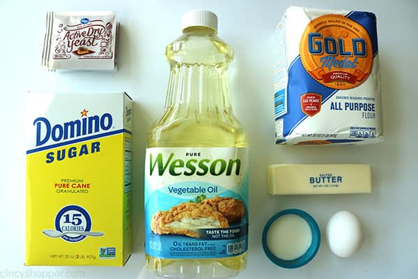 Ingredients to make easy dinner rolls.