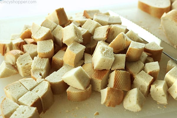 Cubed bread.
