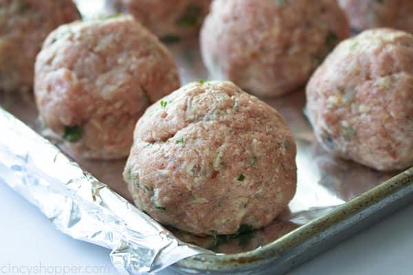 Oven Baked Italian Meatballs on a sheet pan
