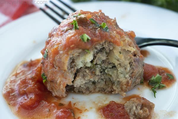 Italian Meatballs with sauce on a plate