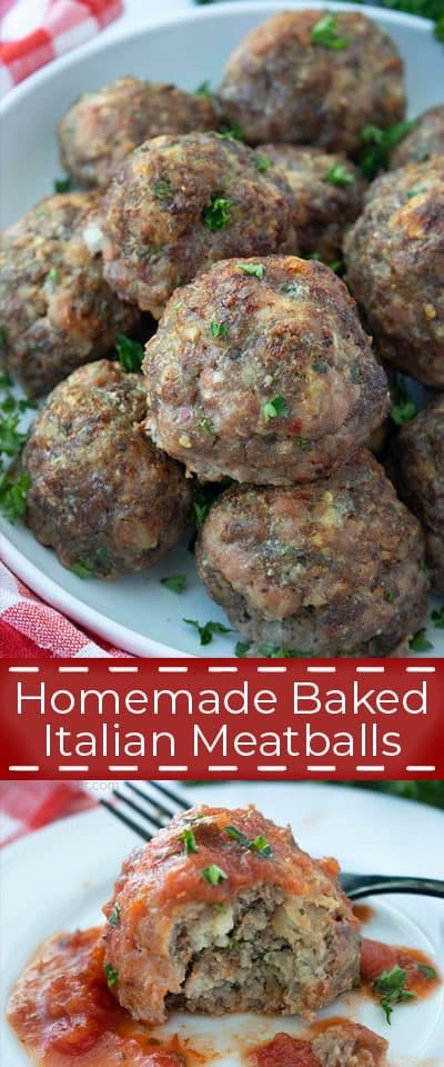 Homemade Baked Italian Meatballs