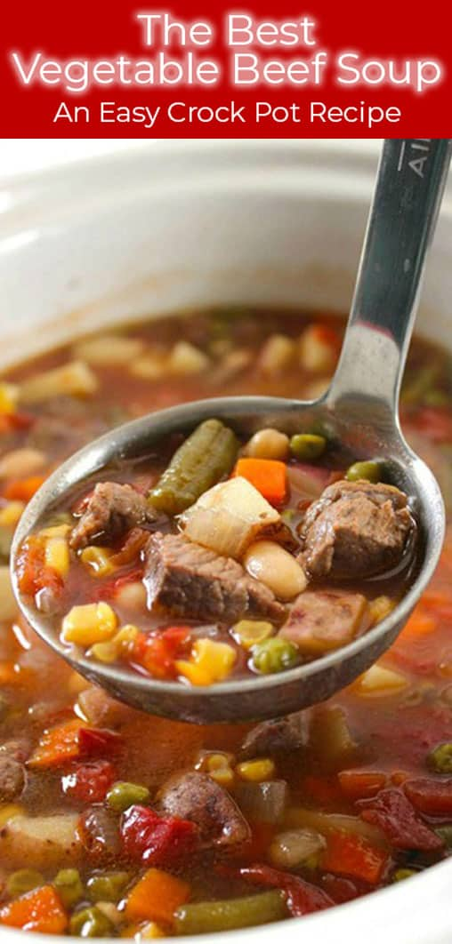 The Best Vegetable Beef Soup made in a Slow Cooker