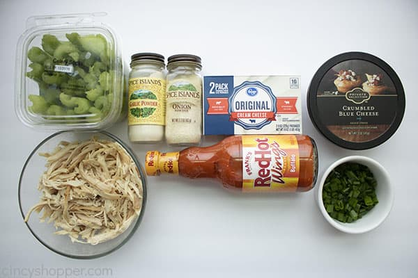 ingredients for spicy chicken on celery sticks
