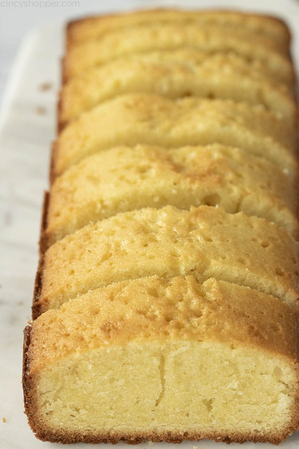easy pound cake cut into slices