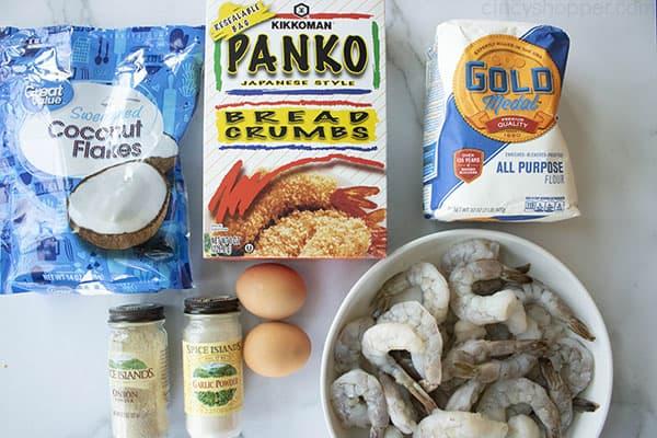 ingredients to make coconut shrimp recipe