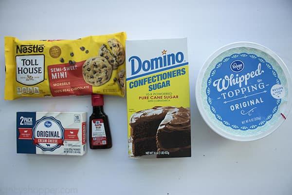Ingredients to make Mint Chocolate Chip Dip