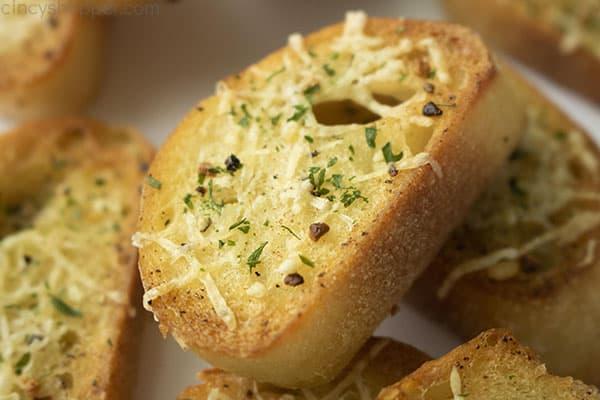 Close up of finished crostini recipe