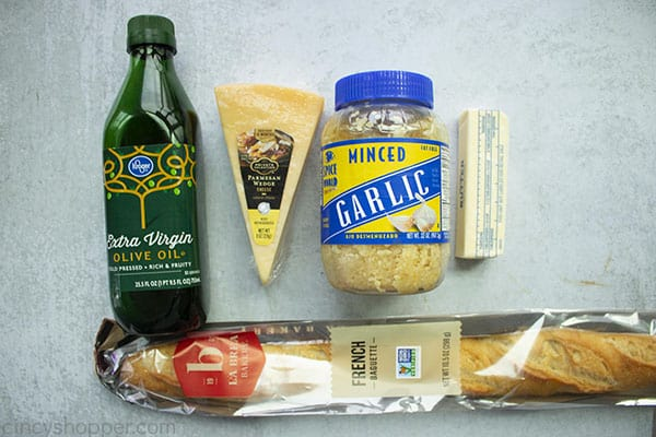Ingredients for crostini recipe are bread, olive oil, butter, garlic and parmesan cheese