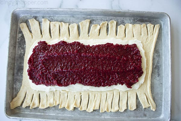 assembling raspberry danish pastry