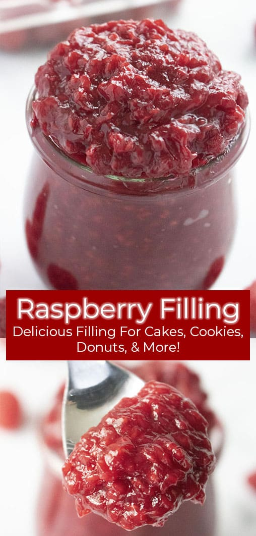 photo collage of raspberry dessert sauce in a jar and on a spoon