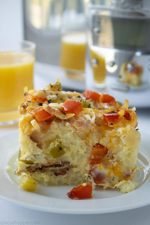 serving of slow cooker breakfast casserole on plate