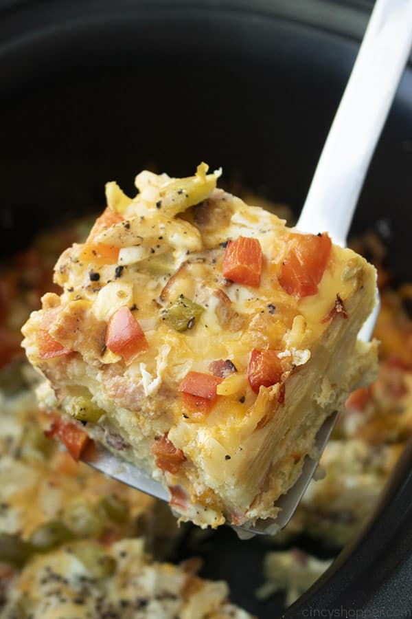 serving of breakfast casserole on spatula