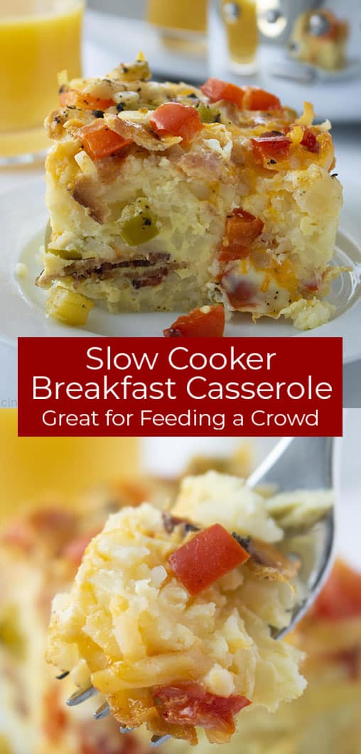 slow cooker breakfast casserole photo collage