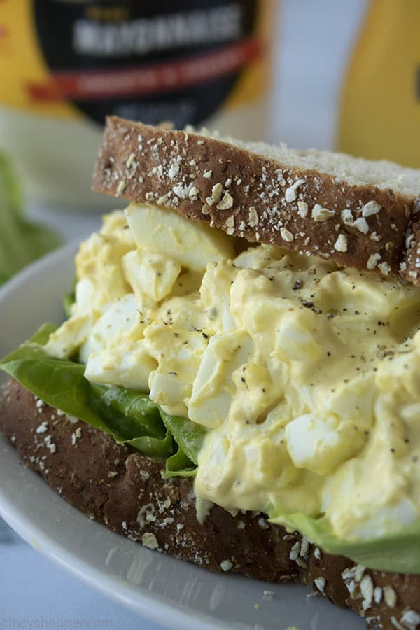 perfect egg salad sandwich on wheat bread