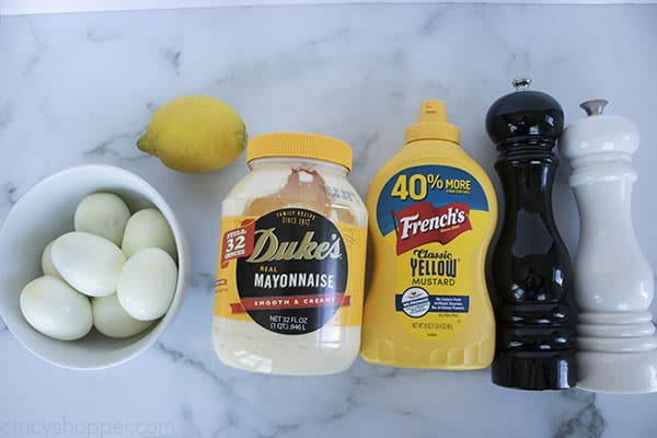 recipe ingredients: hard boiled eggs, mayo, yellow mustard, lemon, salt and pepper