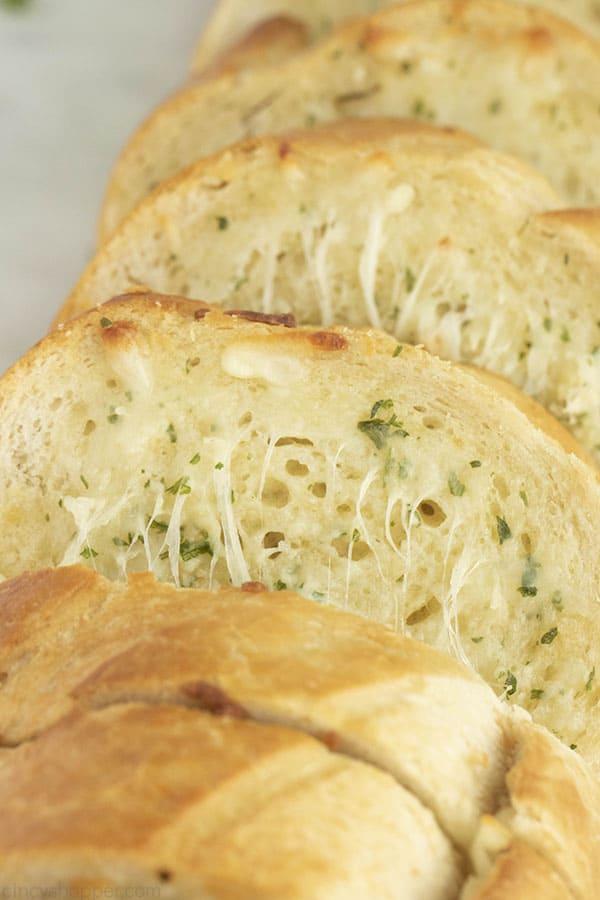 slices of homemade garlic bread