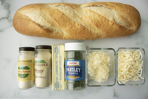 ingredients to make a garlic bread recipe