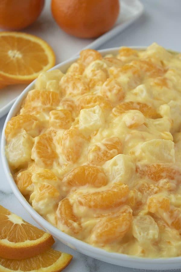 Creamy Orange Fruit Salad in a bowl