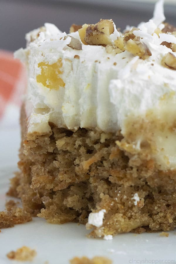 Closeup of moist carrot cake from boxed mix.