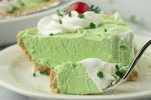 Slice of easy mint pie on a plate