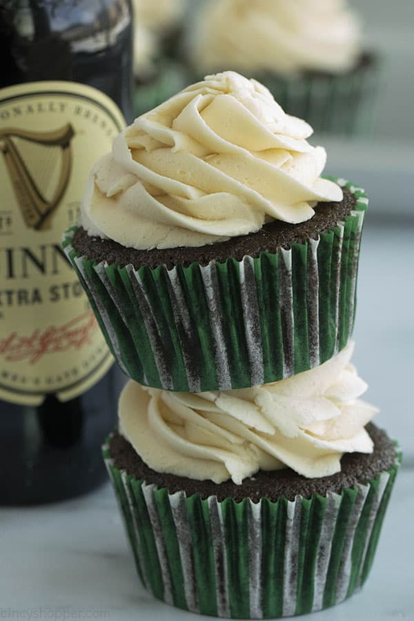 Stack of Chocolate Guinness Cupcakes