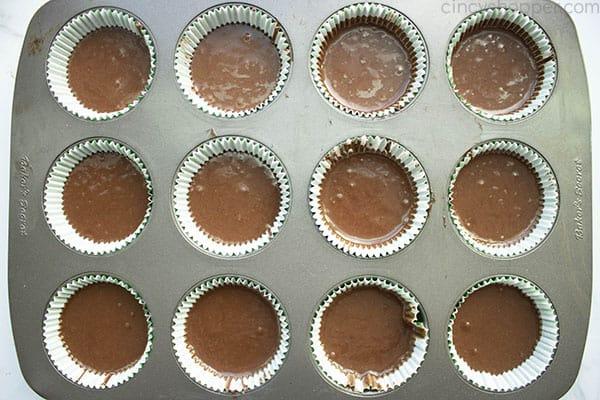 Chocolate Guinness Cupcake batter in pan