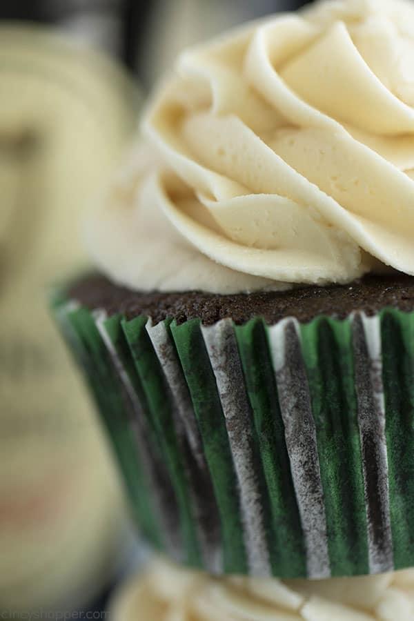 Closeup of Guinness Chocolate Cupcakes