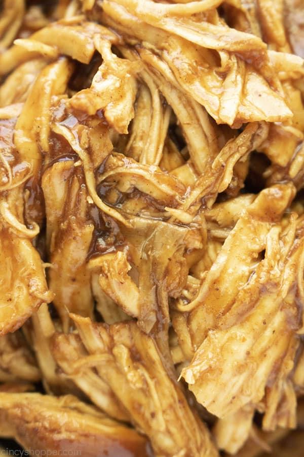 Closeup of BBQ Shredded Chicken