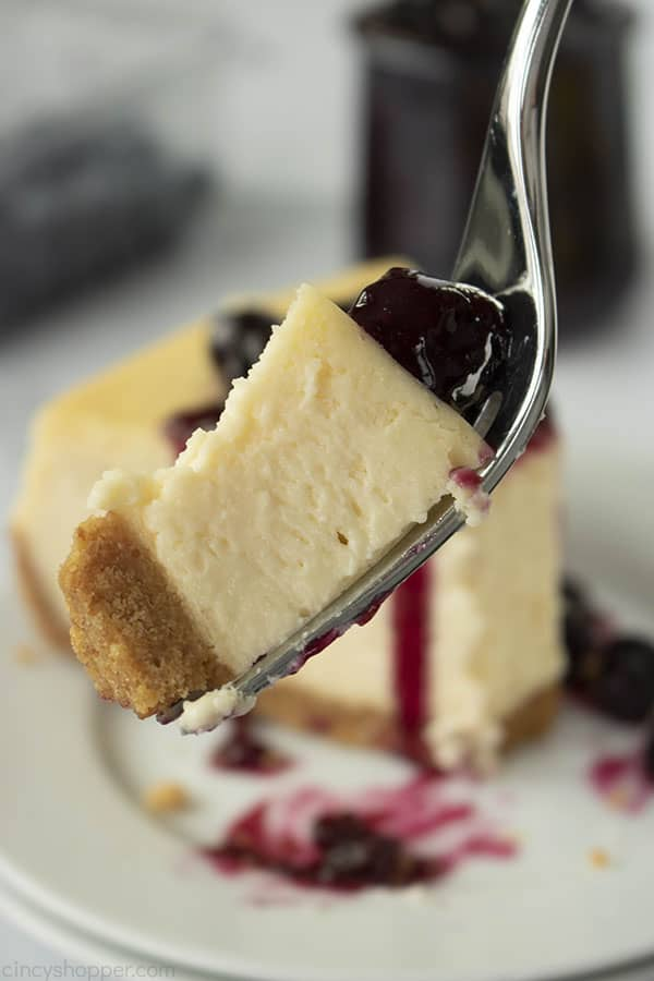 bite of cheesecake on a fork