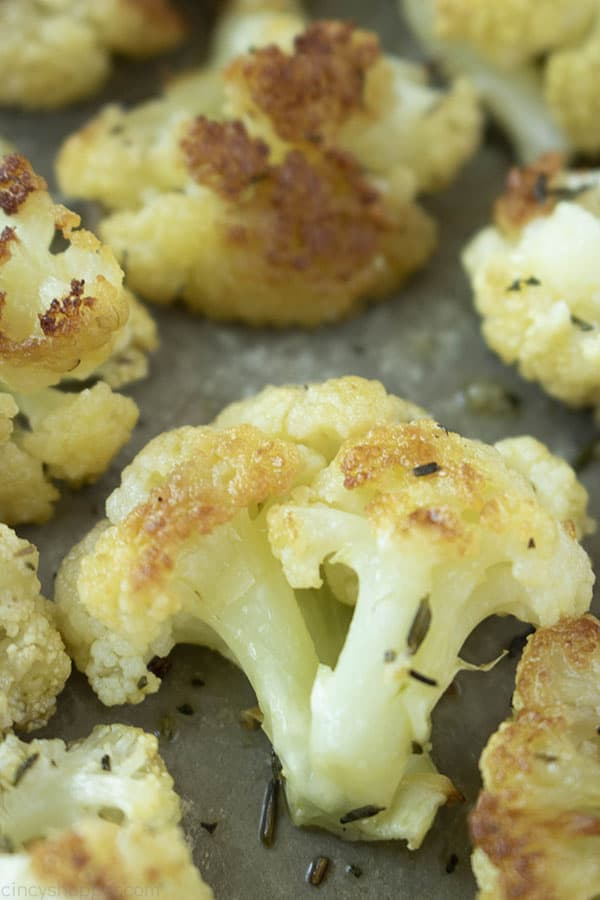 Roasted cauliflower on a pan