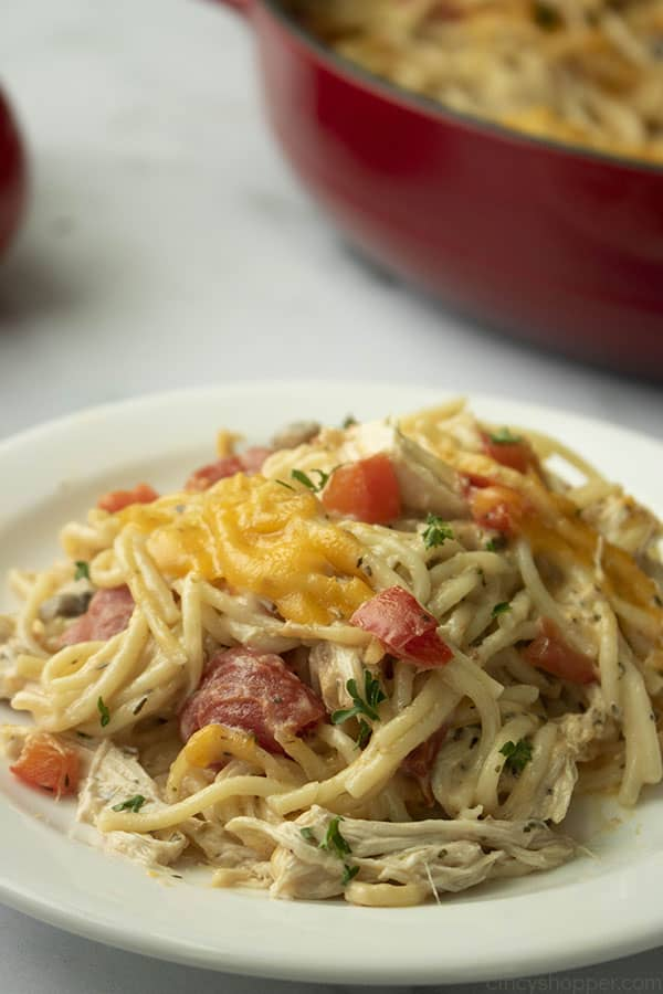 plated pasta dinner with chicken, tomatoes, and cheese