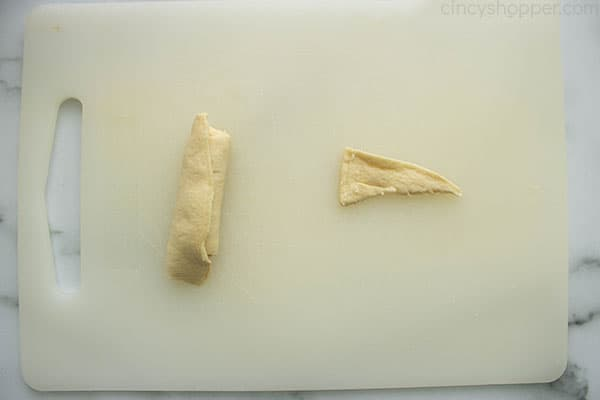 two piece of uncooked crescent roll dough