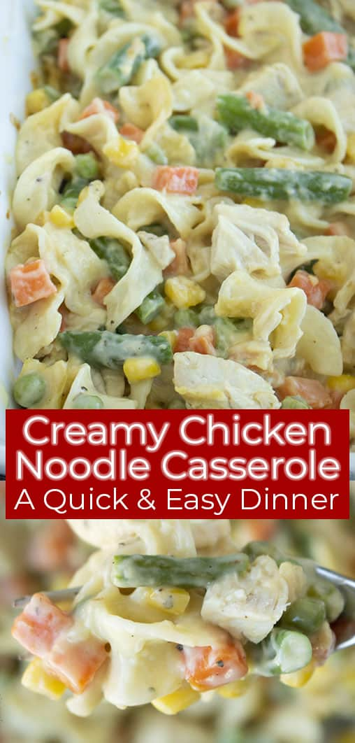 Long text on image creamy chicken noodle casserole dinner