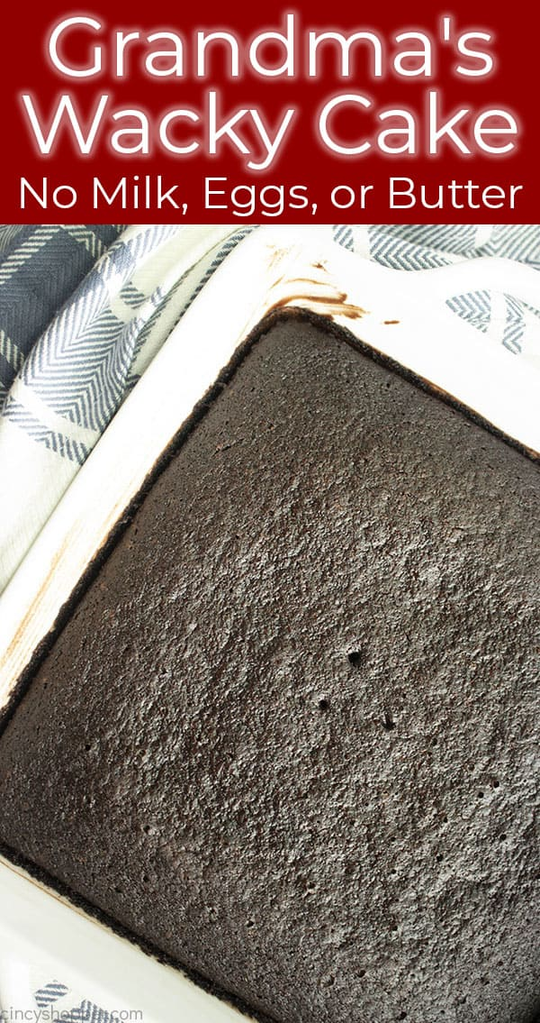 dark chocolate cake in a square pan