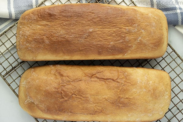 looking down at 2 loaves of homemade bread