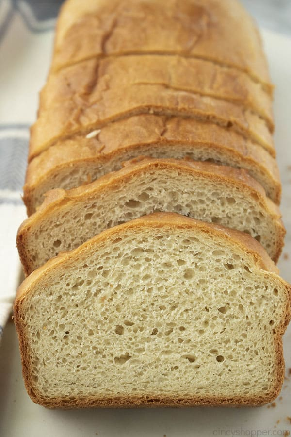 loaf of bread, cut into slices