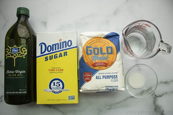 Ingredients to make Homemade Pizza Dough Recipe